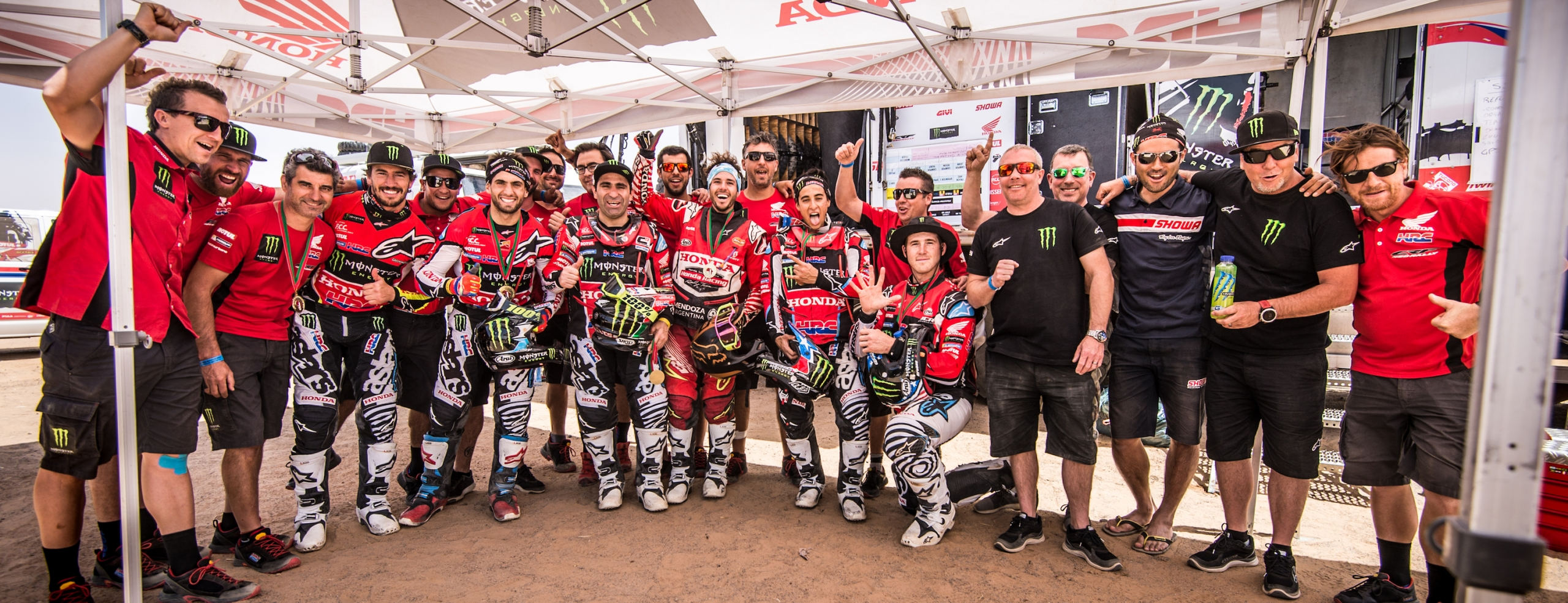 Overall victory for Joan Barreda and runner-up spot for Kevin Benavides as Monster Energy Honda Team score a one-two at the Merzouga Rally